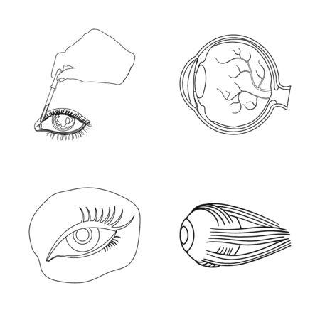 Isolated object of medical and eyeball logo. Set of medical and optical stock bitmap illustration.