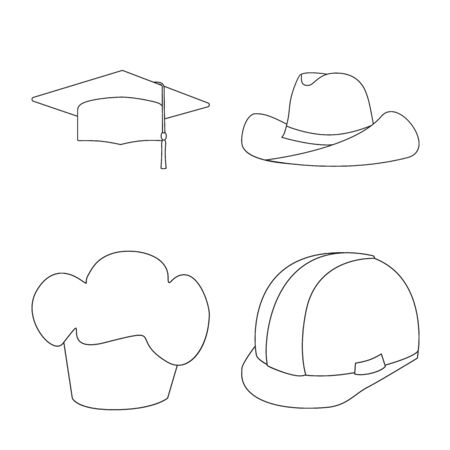 Isolated object of headgear and napper icon. Collection of headgear and helmet stock bitmap illustration.