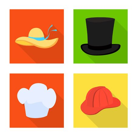 Isolated object of fashion and profession sign. Collection of fashion and cap bitmap icon for stock.