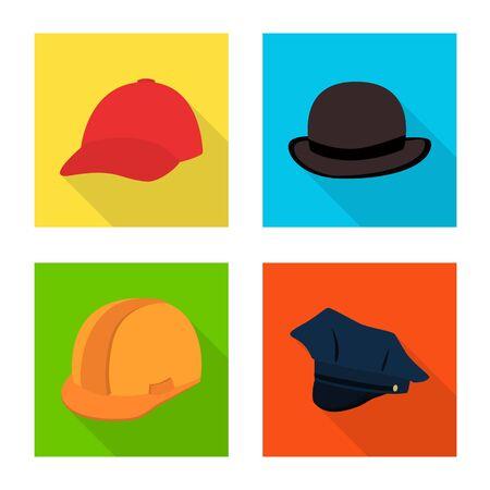 bitmap illustration of fashion and profession sign. Collection of fashion and cap stock bitmap illustration. Zdjęcie Seryjne