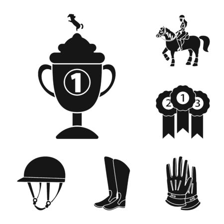 Isolated object of sport and competition logo. Set of sport and equestrian stock bitmap illustration.