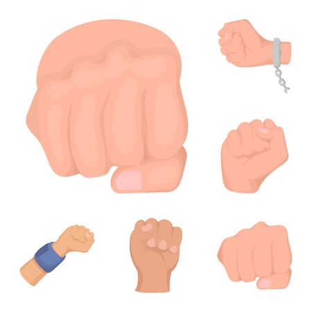 Isolated object of fist and punch logo. Collection of fist and hand stock bitmap illustration.