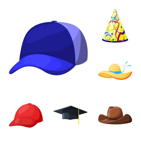 bitmap illustration of headgear and napper logo. Collection of headgear and helmet bitmap icon for stock. Banque d'images - 128969042