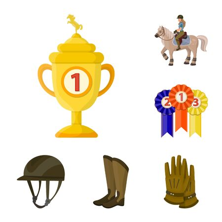 Isolated object of horseback and equestrian icon. Set of horseback and horse stock bitmap illustration. Stock Photo