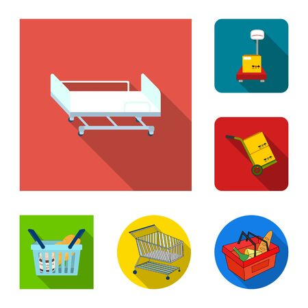 Isolated object of basket and wicker symbol. Collection of basket and market stock bitmap illustration.