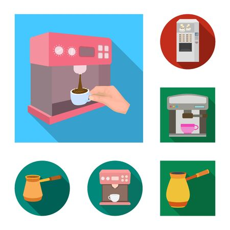 bitmap design of coffee and machine icon. Set of coffee and kitchen stock symbol for web.