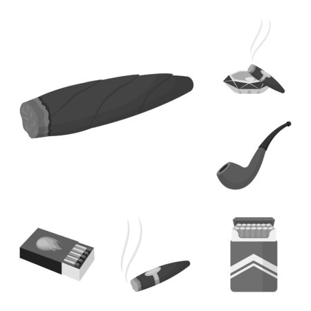 bitmap design of smoke and no sign. Collection of smoke and stop stock bitmap illustration.
