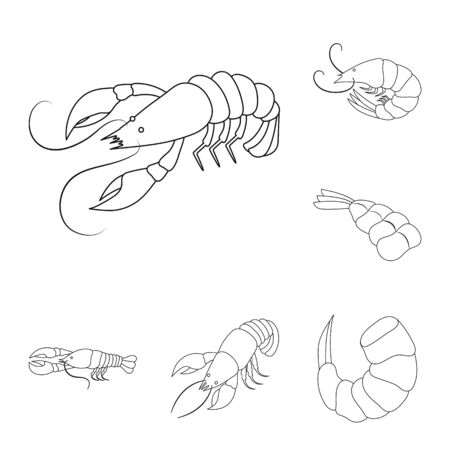 bitmap illustration of food and sea icon. Set of food and animal stock bitmap illustration.