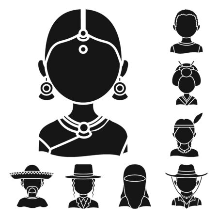 Isolated object of person and culture symbol. Set of person and race stock bitmap illustration.