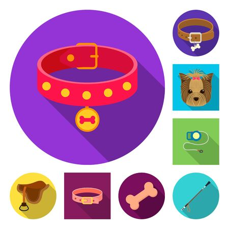 bitmap design of pet and accessories logo. Set of pet and shop stock symbol for web.