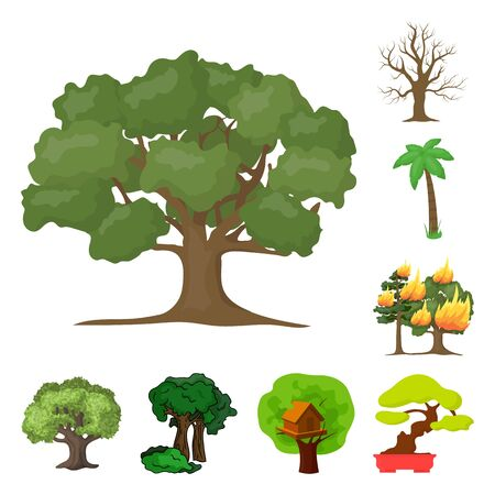 bitmap illustration of tree and forest symbol. Set of tree and green stock symbol for web. Stock Photo