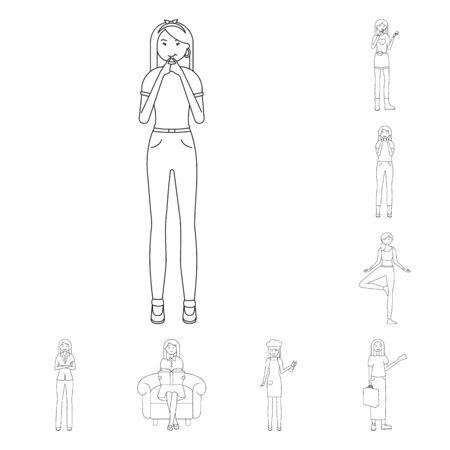 bitmap illustration of posture and mood symbol. Set of posture and female stock symbol for web.