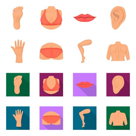 Isolated object of body and part icon. Set of body and anatomy bitmap icon for stock.