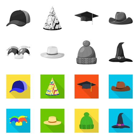 Isolated object of clothing and cap logo. Collection of clothing and beret stock bitmap illustration. Banque d'images - 128968678