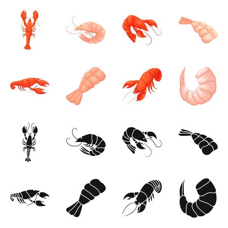 bitmap illustration of appetizer and ocean sign. Set of appetizer and delicacy stock symbol for web.