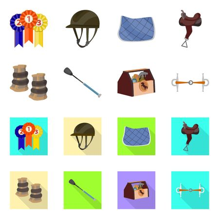 bitmap illustration of equipment and riding symbol. Collection of equipment and competition bitmap icon for stock.