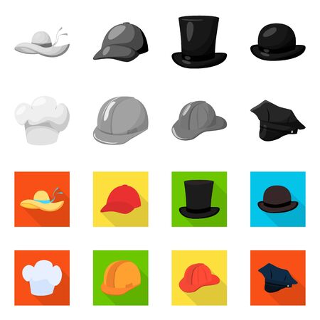 bitmap design of clothing and cap sign. Set of clothing and beret stock symbol for web.