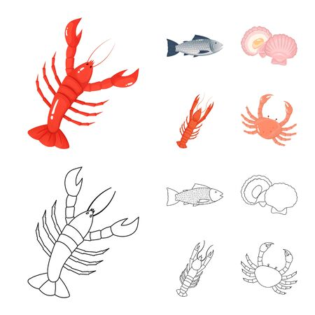 Isolated object of fresh and restaurant symbol. Set of fresh and marine stock bitmap illustration.