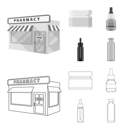Isolated object of retail and healthcare sign. Collection of retail and wellness bitmap icon for stock.