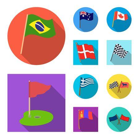 bitmap design of world and flag symbol. Set of world and ribbon stock bitmap illustration.