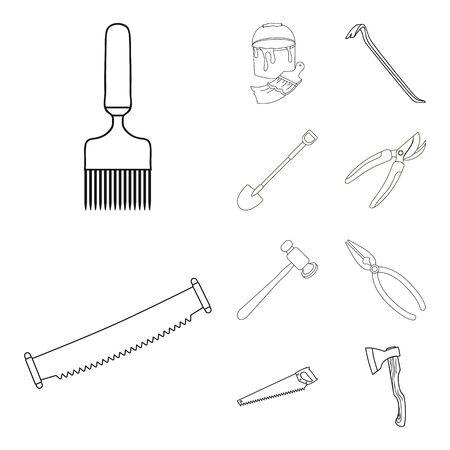 bitmap illustration of tool and construction logo. Collection of tool and carpentry stock bitmap illustration.