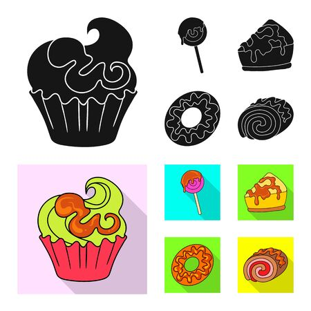 bitmap illustration of confectionery and culinary symbol. Set of confectionery and product bitmap icon for stock. Imagens - 128968147