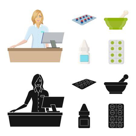 bitmap design of retail and healthcare logo. Set of retail and wellness stock bitmap illustration. Reklamní fotografie