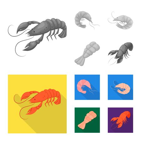 Isolated object of appetizer and ocean logo. Set of appetizer and delicacy bitmap icon for stock.