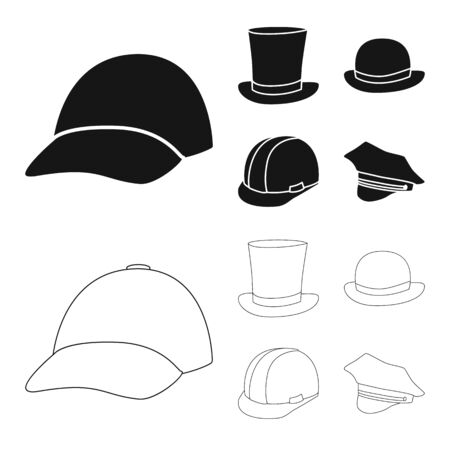 bitmap design of clothing and cap icon. Set of clothing and beret bitmap icon for stock.