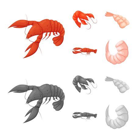 bitmap illustration of appetizer and ocean symbol. Set of appetizer and delicacy bitmap icon for stock.
