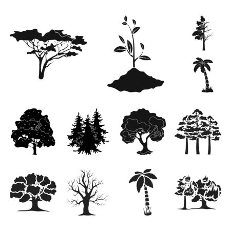 bitmap illustration of tree and forest logo. Collection of tree and green bitmap icon for stock.
