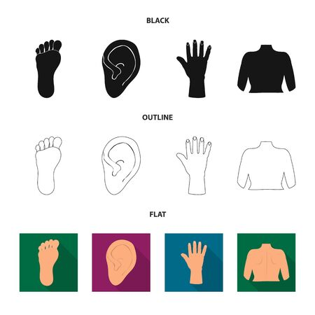 bitmap design of body and part sign. Set of body and anatomy bitmap icon for stock.