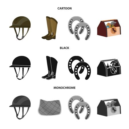 bitmap illustration of equipment and riding sign. Set of equipment and competition stock symbol for web.