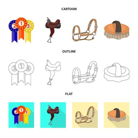 Isolated object of equipment and riding icon. Collection of equipment and competition bitmap icon for stock.