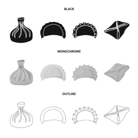 Isolated object of products and cooking symbol. Set of products and appetizer stock bitmap illustration.