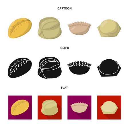 bitmap design of products and cooking logo. Set of products and appetizer stock bitmap illustration. Stock Photo