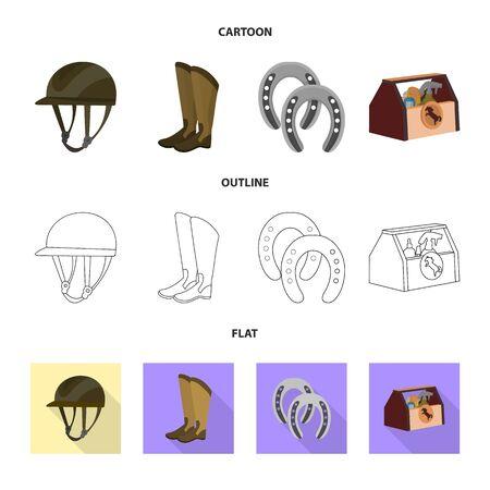 bitmap illustration of equipment and riding symbol. Collection of equipment and competition stock bitmap illustration.