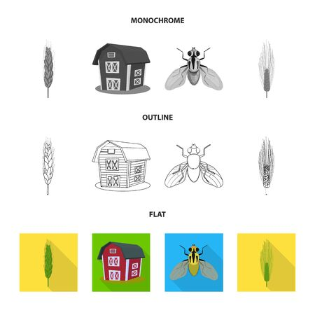 Isolated object of agriculture and farming symbol. Set of agriculture and plant bitmap icon for stock.