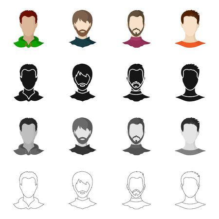 bitmap illustration of professional and photo icon. Set of professional and profile bitmap icon for stock.