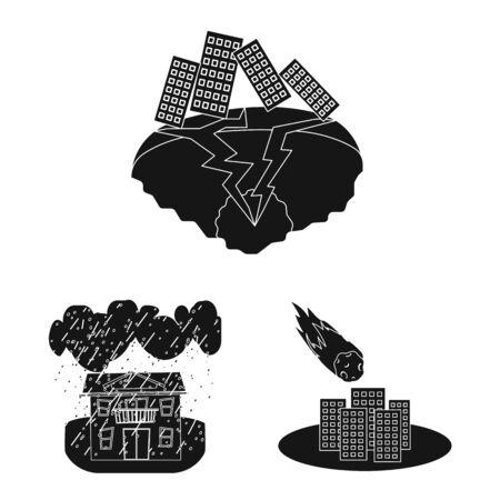 Vector illustration of calamity and crash sign. Collection of calamity and disaster stock vector illustration. Illustration