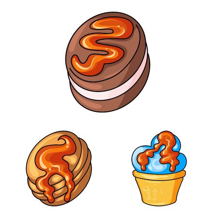 Vector illustration of dessert and sweet icon. Collection of dessert and food stock vector illustration.