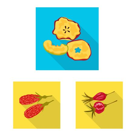 Isolated object of fruit and dried symbol. Collection of fruit and food stock symbol for web. Illustration