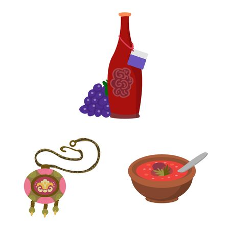 Vector illustration of Caucasus and traditions icon. Set of Caucasus and attributes stock vector illustration.