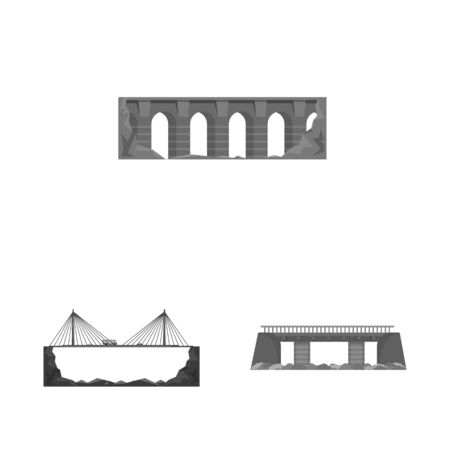 Vector illustration of design and construct icon. Collection of design and bridge stock symbol for web.