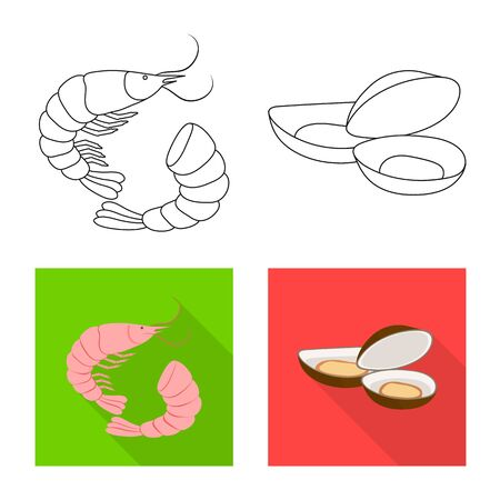 Vector design of fresh and restaurant. Collection of fresh and marine vector icon for stock. Çizim