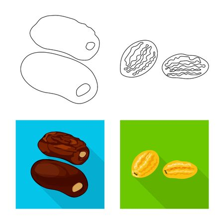 Vector design of food and raw symbol. Collection of food and nature vector icon for stock. Illustration