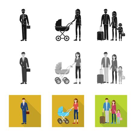 Vector design of character and avatar sign. Set of character and portrait stock vector illustration. Ilustrace