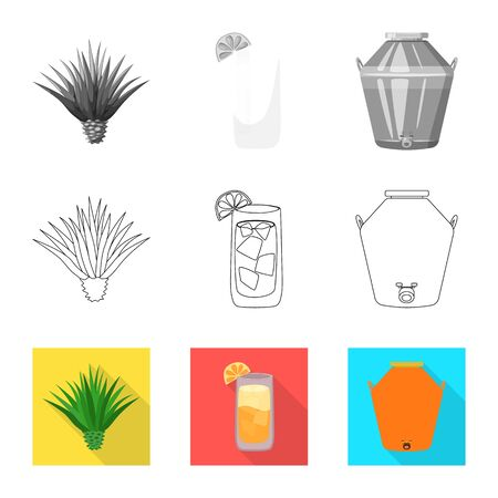 Isolated object of cafe and Latin sign. Set of cafe and national vector icon for stock.
