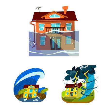 Vektordesign von Kataklysmus und Katastrophenzeichen. Sammlung von Kataklysmus und Apokalypse-Vektor-Illustration. Vektorgrafik
