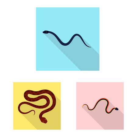 Isolated object of skin and reptile symbol. Set of skin and danger vector icon for stock.